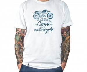 Motorcycle T-shirt - Scrambler - white CRAVE FOR RIDE koszulka cafe racer harley bobber