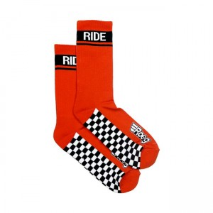 ROEG Early finish socks orange skarpety motocyklowe z szachownicą bobber chopper harley  scrambler cafe racer