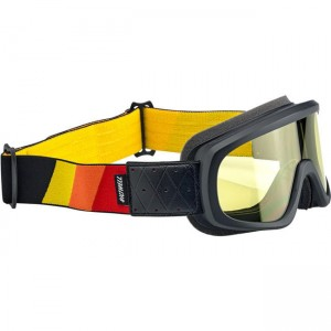 Biltwell Overland 2.0 Tri-Stripe Goggles Black/Red/Yellow/Orange  gogle motocyklowe cafe racer scrambler tracker harley